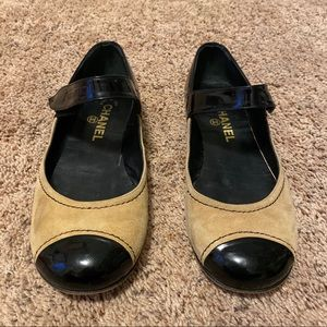 Chanel Beige Ballet Flat With Patent Leather Toe